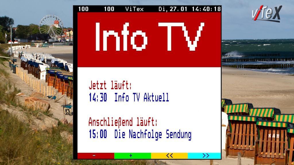 Beispiel eines TV Services mit Teletext und dynamischer Programmvorschau auf der Tafel 100